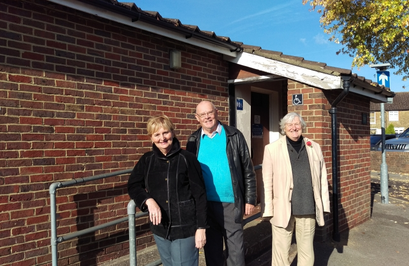 Cllrs. Liz Wheatley, Steve Cosser and Nick Williams at the reopened loos
